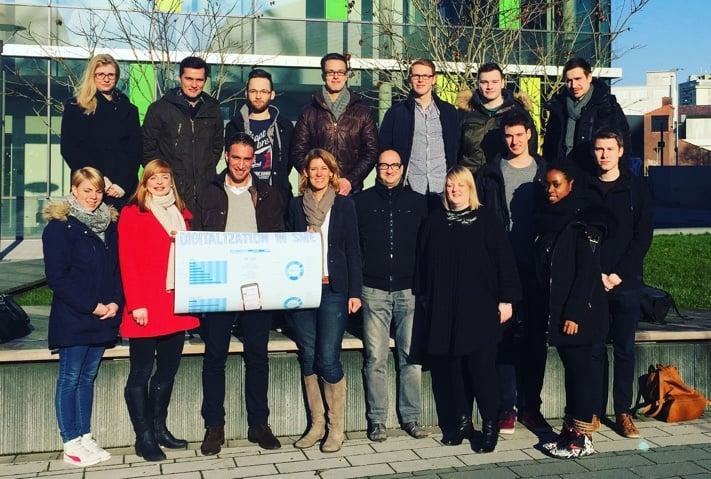 """Die Arbeitsgruppe """"Digitalization in SME"""" von der Hochschule Rhein-Waal hat uns heute die Ergebnisse der seiner Studie präsentiert."""