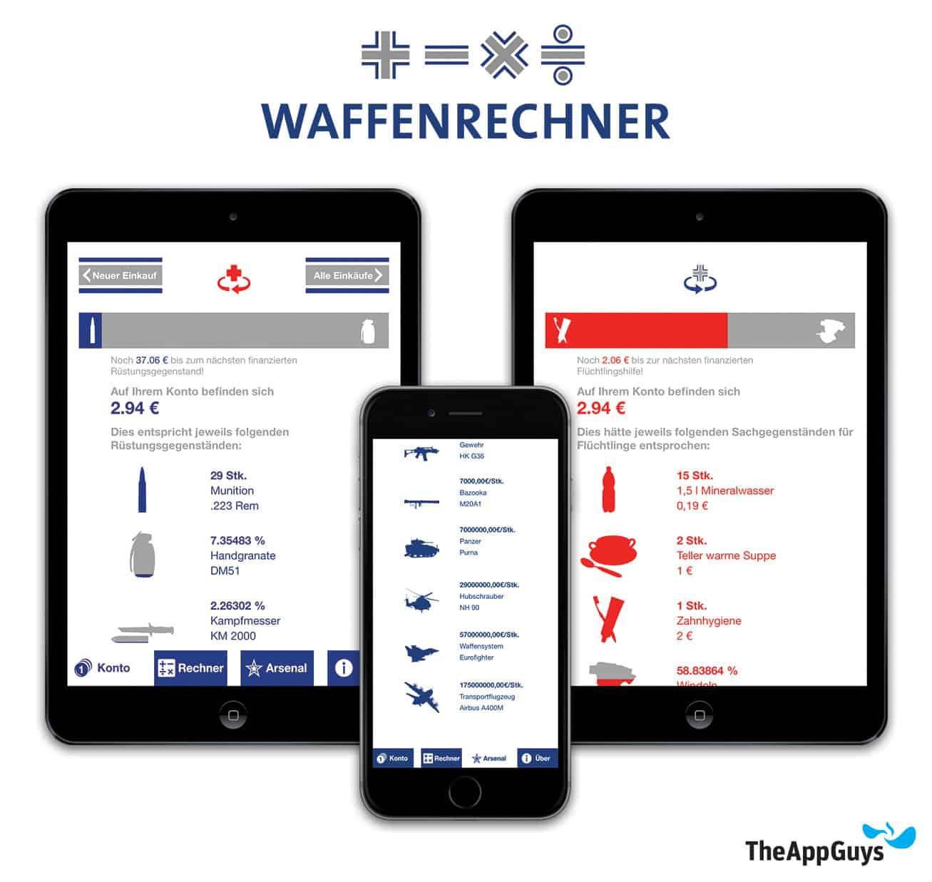 Neues Feature rechnet Rüstungsausgaben in potenzielle Flüchtlingshilfe um Waffenrechner 2.0: jetzt endlich auch fürs iPhone https://itunes.apple.com/de/app/waffenrechner/id808803971?mt=8