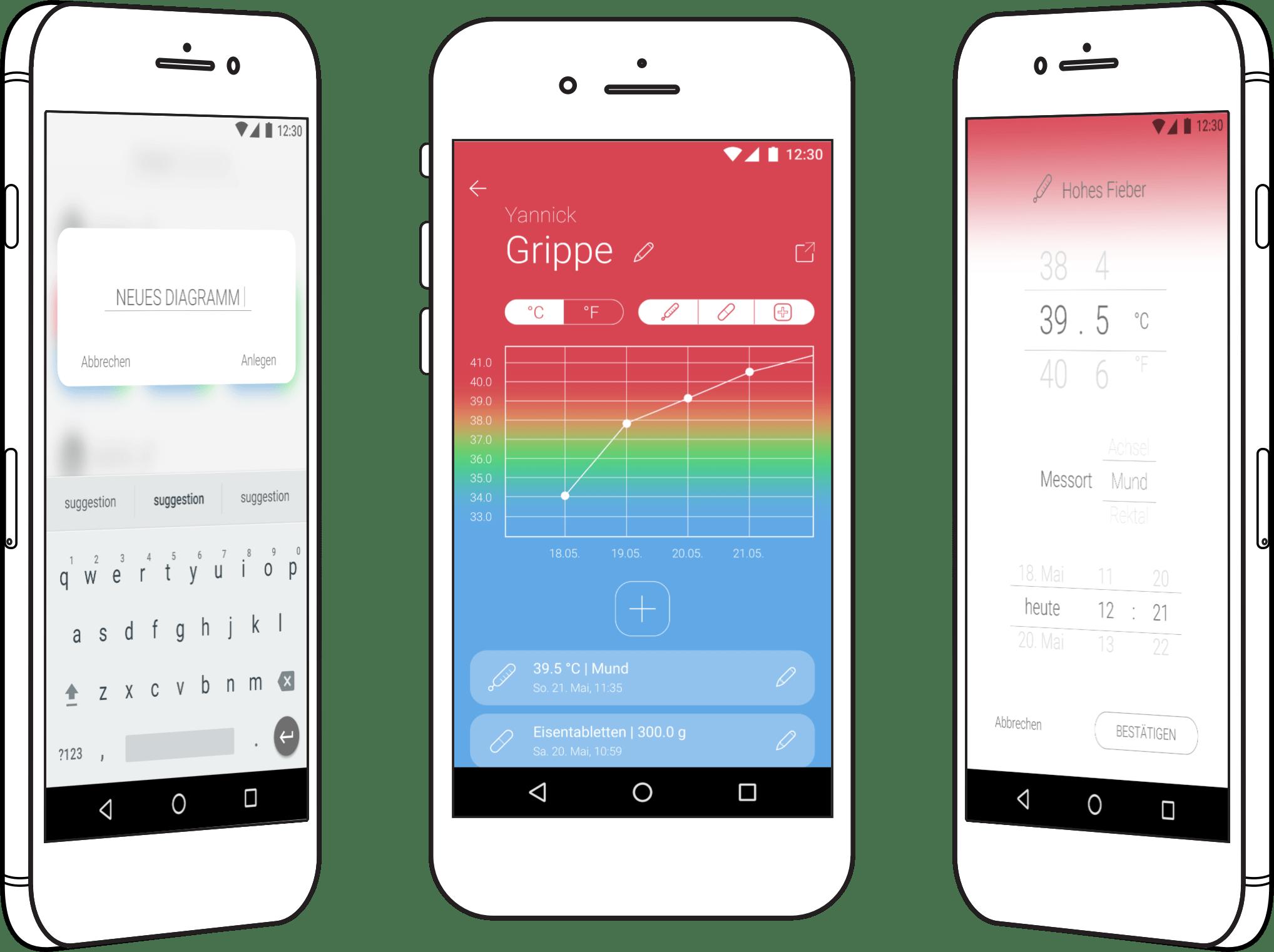 Neues Design der bestehenden App für Fiebergraphen Leichtes Design mit Farbverläufen Von der Standard-UI weg zum eigenen Entwurf